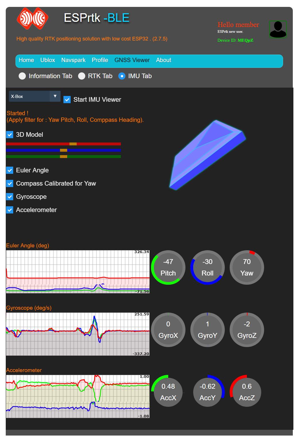 Tutorial - Web Configure : MPU9250 - IMU Viewer - ESPrtk