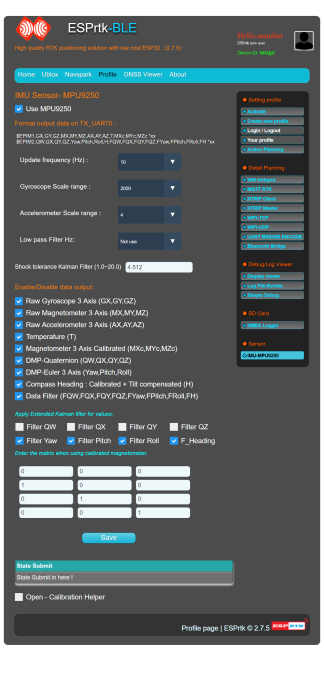 Tutorial - MPU9250 - Export IMU data Realtime - ESPrtk